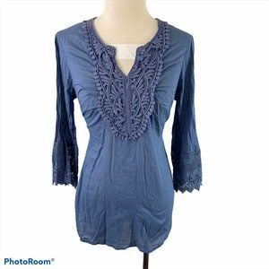 SUZY SHIER Blue Embroidered Long Sleeve Peasant